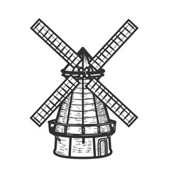 windmill isolated on white background background vector image