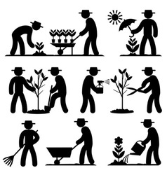 agro people icons vector image vector image