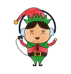 Color pencil cartoon full body christmas elf with vector