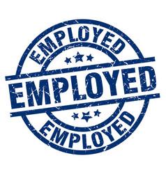 Employed blue round grunge stamp vector