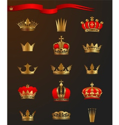 Golden crowns vector image