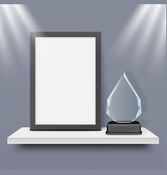 blank black frame and glass award trophy vector image