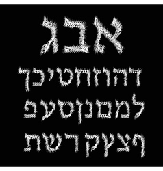 Hebrew alphabet thorny font letters vector