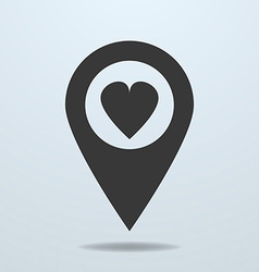 Map pointer with a heart symbol vector image vector image