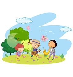People playing music in garden vector image vector image