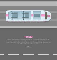 tramway on road conceptual flat web banner vector image vector image