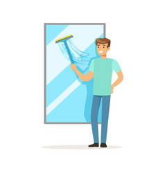 Young smiling man washing window house husband vector