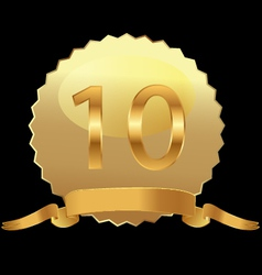 10 gold seal with ribbon vector