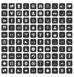 100 active life icons set black vector