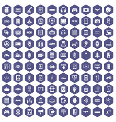 100 adjustment icons hexagon purple vector