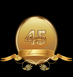 45th golden anniversary birthday seal icon vector image