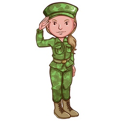 A sketch of a female soldier vector