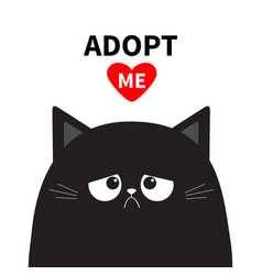 Adopt me dont buy black sad cat face silhouette vector