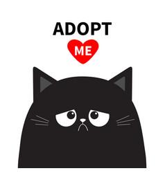 Adopt me dont buy black sad cat face silhouette vector