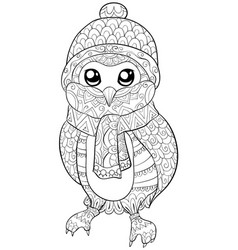 adult coloring bookpage a cute owl with christmas vector image