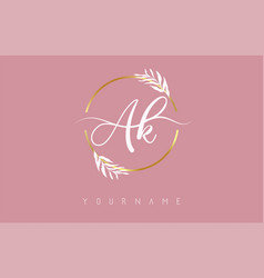 Ak a k letters logo design with golden circle vector