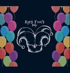April fools day hat joker balloons vector