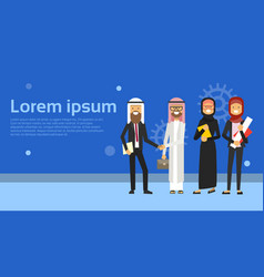arabic people group wearing traditional clothes vector image