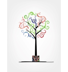 Art tree design with watercolor waves vector