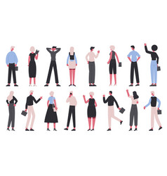 back view business characters office workers view vector image