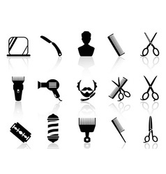 barber tools and haircut icons set vector image
