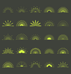 Big set of retro sun burst shapes 25 half vintage vector
