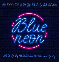 blue neon script uppercase and lowercase letters vector image
