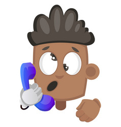boy speaking on telephone on white background vector image