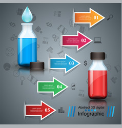 business infographics medicine bottles recip vector image