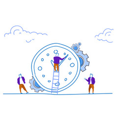 businessman climbing ladder clock time management vector image