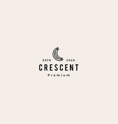 c letter moon crescent logo icon hipster vintage vector image