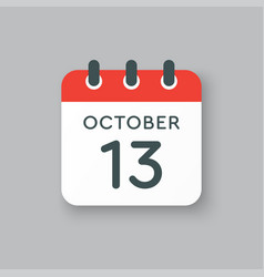 calendar icon day 13 october template icon date vector image