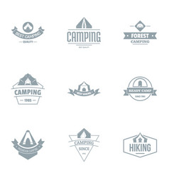 Campsite logo set simple style vector