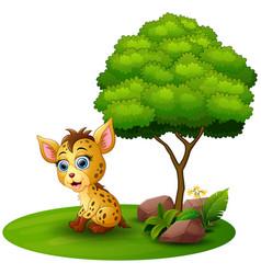 Cartoon hyena under a tree on a white background vector