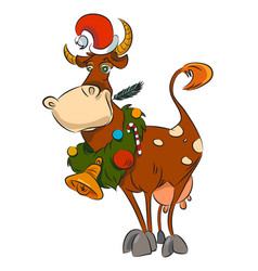 Cartoon image of cow wearing christmas hat vector