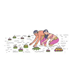 cartoon people from thailand floating leaf basket vector image