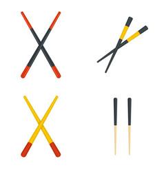 Chopsticks icons set flat style vector