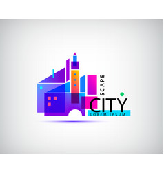 city scape real estate logo geometric vector image
