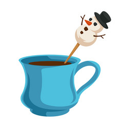 Coffee cup with snowman on stick christmas vector