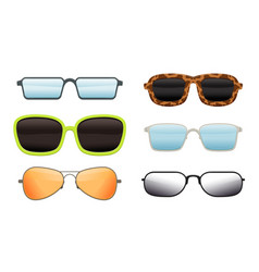 collection eyeglasses different shapes and vector image
