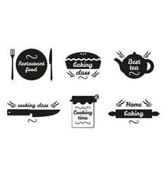 Collection of cooking labels with text on white vector