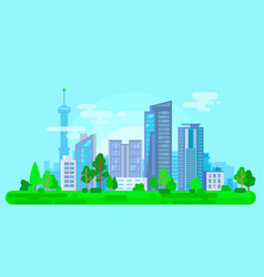 colorful cityscape with green trees vector image