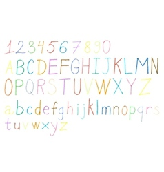 Colorful hand drawn alphabet and numbers vector image