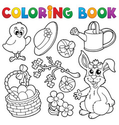 Coloring book with easter theme 6 vector