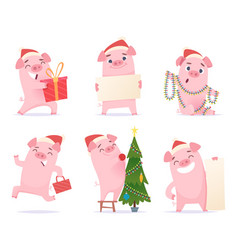 cute pig new year 2019 celebration cartoon vector image