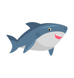 Cute smiling friendly blue shark with sharp teeth vector