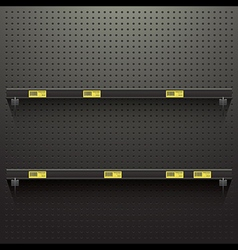 Dark pegboard background with shelves and price vector image
