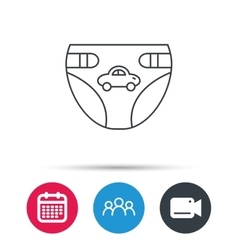 Diaper with car icon Child underwear sign vector