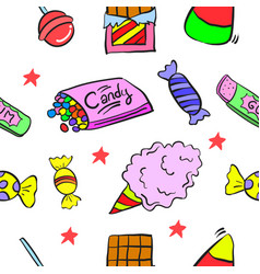 Doodle of sweet candy food various vector