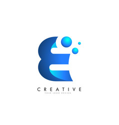 e letter logo design with 3d and ribbon effect vector image